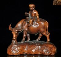 "5"" Old China Feng Shui Boxwood Wood Hand carved boy Tongzi ride Cattle Ox statue"