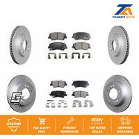 Front Rear Coated Disc Rotors & Ceramic Brake Pads Fit Hyundai Elantra Kia Forte