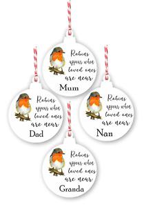 Personalised Robin Christmas Tree Sign memory Decoration Memorial Xmas Bauble