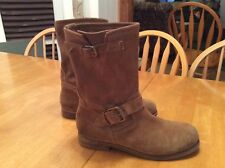 GUESS Genuine Suede Tan Buckle BOOTS Moto Motorcycle GWCARLY size 9