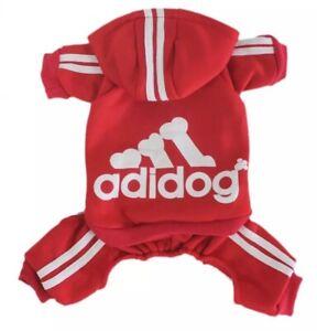 Dog Hoodie Outfit 4-Leg Jumpsuit/Tracksuit Adidog