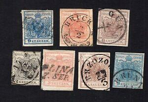 Austria 1850-54 7 stampsMi#3x-5x+3Y-4Y used CV=108,50€