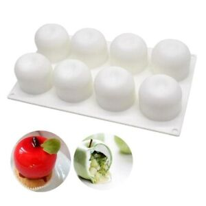 Apple shape 3D silicone mould 8 cell Fondant Candle Cupcake Mousse Soap Sweet UK