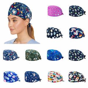 1PC Surgical Scrub Caps Doctor Nurse Cotton Bouffant Adjustable Head Cover Hats