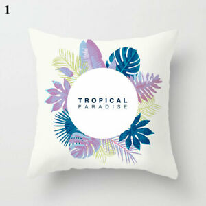 Tropical Plants Polyester Decorative Pillowcases Green Leaves Throw Pillow Case