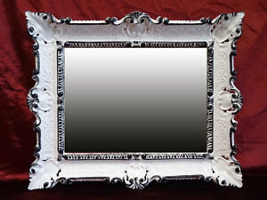 Wall Mirror White - Black Dualcolor Antique Baroque Bathroom Floor 56x46