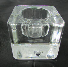 Orrefors Lead Crystal Ice Cube Votive Candle Holder - Made in Sweden