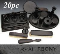 Antique Victorian 20pc Solid Cameroon Ebony Wood Dressing & Vanity Set, 2 Trays