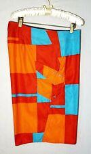 Volcom Board Short Size 38 Mens Orange Blue Geometrical pattern Swimwear Trunk