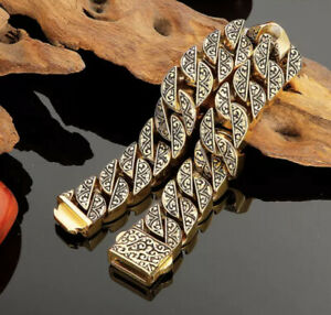 MENS SILVER AZTEC BRACELETS SOLID LINK CHAIN GOLD 316L S STEEL LUXURY LTD 23 CM