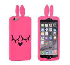 "^ back case 3d Silicona Funda móvil cartera cover orejas Pink Apple iPhone 6 4.7"""
