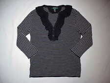 Ralph Lauren Knit Top Blouse Shirt 3/4 Sleeve Womens Medium Black/White Striped