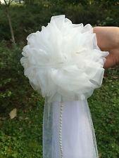 6pcs  Organza Pom Pew Bows flower Tulle Wedding Decor Quinceanera Dec