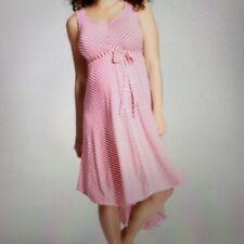 Isabel Maternity Dress Size L Pink Bias Striped Sleeveless NWT