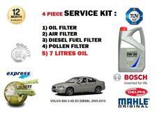 FOR VOLVO S60 2.4D D5 2005-> OIL AIR FUEL POLLEN FILTER 4 SERVICE KIT 7 LTR OIL