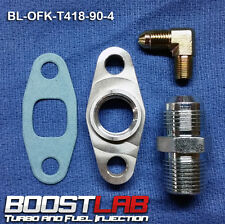 "T3/T4 Turbo Oil Fitting Kit (-4AN x 1/8"" 90* Feed) Fits ALL Square Drain Turbos"