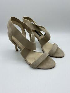 Nine West Women's Maya Sand Heels Dress Sandals 7 Natural Suede 15068