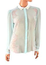 Long Sleeve Button Down Collar Chiffon Tops & Shirts Plus Size for Women