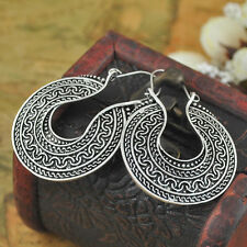 Hot Chic Charm Ethnic Miao Tibet Silver Front Side Hollow Pattern Hoop Earring