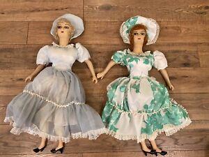 "Vintage Boudoir Dolls, Two Antique Bed Dolls, 26"" Composition/cloth Doll"
