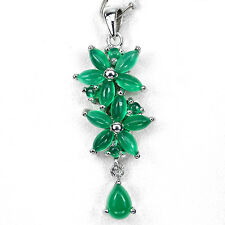 NATURAL GREEN AVENTURINE 14K on STERLING 925 SILVER PENDANT NECKLACE CHAIN FREE