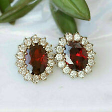 3.00 Ct Oval Cut Red Ruby & Diamond Cluster Stud Earrings 14k Yellow Gold Over