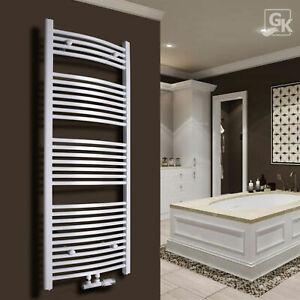 Badheizkörper Handtuchtrockner Heizung 1150x600mm Mittelanschluss Weiß Gebogen