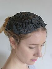 Vintage true 1930s black straw cap hat deco very good