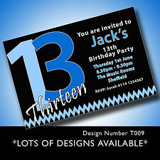 10 Personalised BOYS & GIRLS Teenager 13th Birthday Party Invitations T09