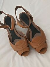 AUTH MARNI TAN LEATHER Platform Wedge Sandals Size 38/UK5