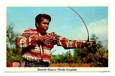 Seminole Brave Florida Everglades Postcard Bow Arrow Indian Man Vintage Unposted