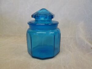 LE Smith BLUE 1lb SMALL OCTAGON CANISTER w/ LID Apothecary Jar 2 pc Lid & Base