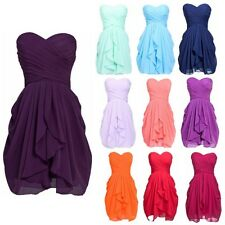 Sweet Women Girls Bridesmaid Party Formal Dress Short Chiffon Prom Dress Size 6