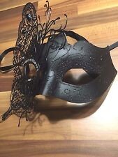 Venetian Masquerade Mask Filigree Black Metal Diamonte Ball Prom Xmas Party