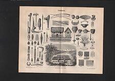 Pfahlbauten Archäologie Züricher See Werkzeuge Waffen Hausrat Stich 1888 Bild