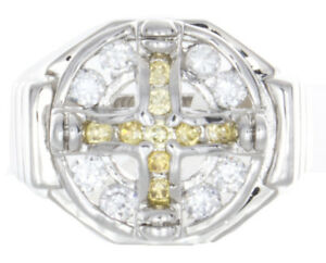 Sterling Silver Men's White & Yellow CZ Stones Cross Ring
