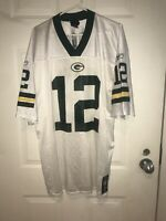 Reebok Authentic NFL Jersey Green Bay Packers Aaron Rodgers White Size XL #12