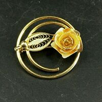 Vintage Signed Sarah Coventry Gold Tone Textured Filigree Rose Flower Pin Brooch