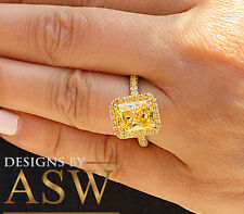 4.75 CARATS 14K SOLID YELLOW GOLD RADIANT SIMULATED DIAMOND ENGAGEMENT RING HALO