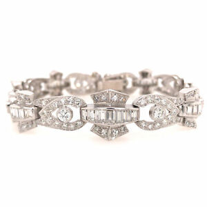 Platinum Round and Baguette Diamond Deco Link Bracelet