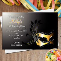 10 Personalised Masquerade Mask Birthday Party Invitations Invites ~ N94
