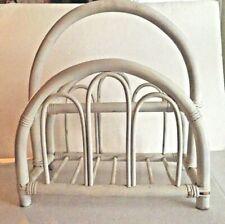 Vintage White Rattan Bamboo Bentwood Magazine Newspaper Book Rack Holder Stand