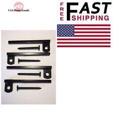 Black Window Bar Brackets (4-Pack) Flush-Mount Solid Steel Adjustable High Gloss