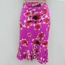 Stunning Karen Millen Floral Print Fit Flare Pleated Summer Skirt 12 UK 40