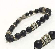 "Scott Kay sz 7.5"" 6mm Black Onyx Beaded Bracelet Silver Sapphire Clasp Women NWT"
