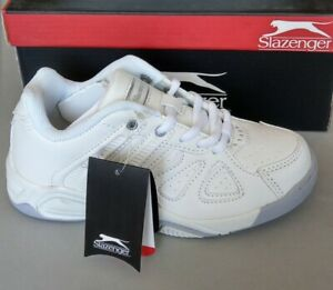 Slazenger Youths Kids shoes UK 12 white sneakers trainers joggers