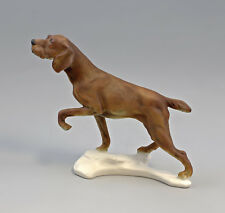 9959258 Porzellan Figur Hund Jagdhund braun bisquit  Ens 20x24cm