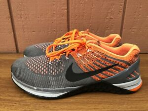 $160 NIKE METCON DSX FLYKNIT MEN US 10.5 GRAY ORANGE TRAINERS 852930-010 CX