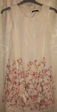 Women's cream with floral print short sleeveless dress, size 10, Primark