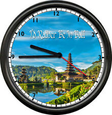 Bali Balinese Island Indonesia Nusa Penida Zen Travel Poster Sign Wall Clock